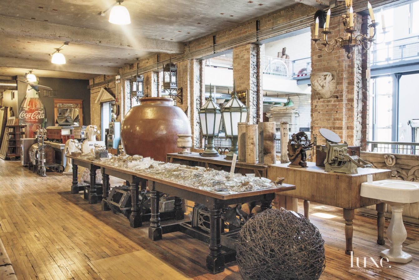 An eclectic array of unique and unusual finds can be found in Grannen's three-story showroom, including crystals from a lighting factory in Buenos Aires.
